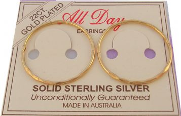 EXTRA LARGE FACET DESIGN 23mm 22ct Gold Plated HINGED SLEEPER EARRINGS