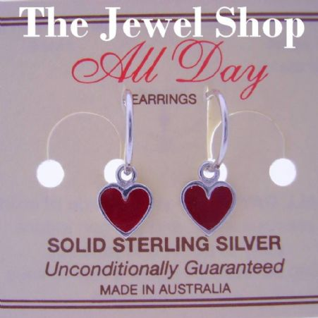 STERLING SILVER 8mm RED HEART CHARMS SMALL 12mm HINGED SLEEPER EARRINGS
