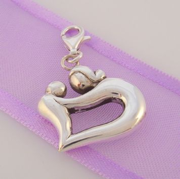 STERLING SILVER 19mm MOTHER CHILD HEART CLIP ON CHARM -925-93-923-686