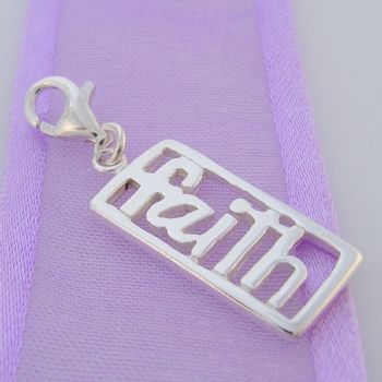 STERLING SILVER 20mm FAITH AFFIRMATION CLIP ON CHARM FM-H20-1102JC