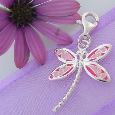 STERLING SILVER 16mm PINK DRAGONFLY CLIP ON CHARM - JC EW460