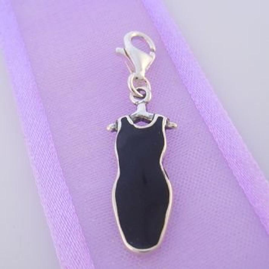 STERLING SILVER LITTLE BLACK DRESS CLIP ON CHARM - TI-03608