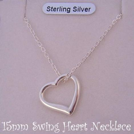 STERLING SILVER 15MM SWING HEART CHARM PENDANT CABLE NECKLACE 45CM
