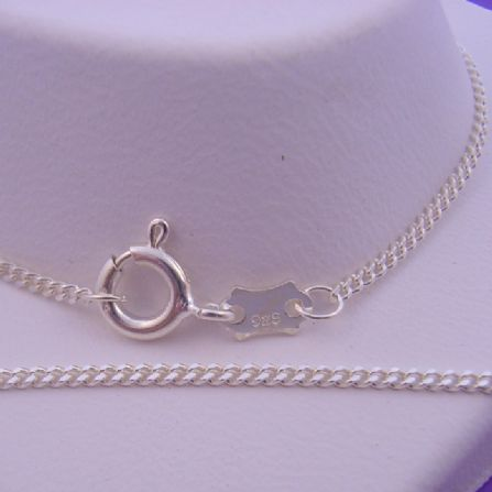 STERLING SILVER 40cm CURB DESIGN NECKLACE