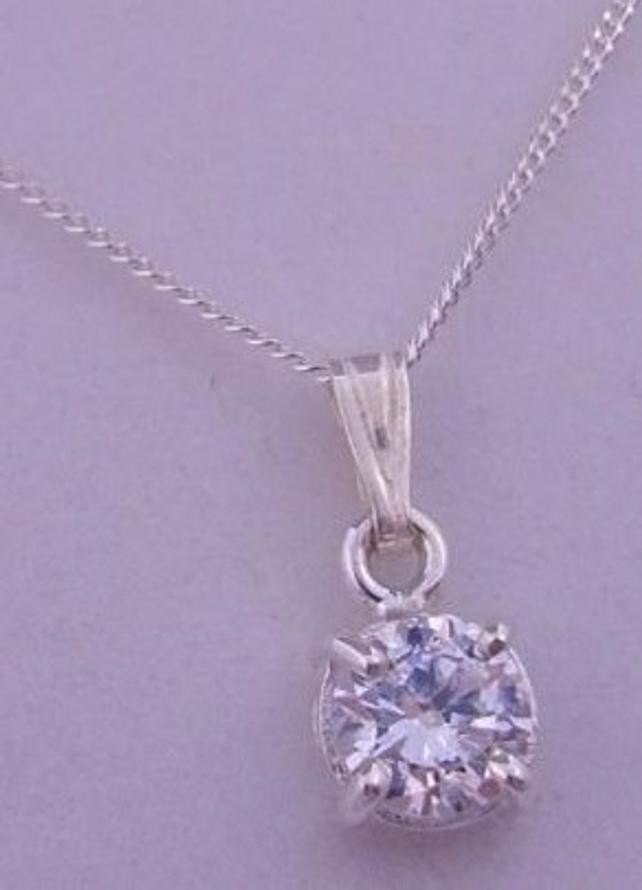 STERLING SILVER 6mm CZ CUBIC ZIRCONIA MANMADE DIAMOND CURB NECKLACE