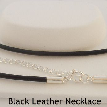 STERLING SILVER BLACK LEATHER CHAIN NECKLACE -N-925-BLK