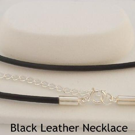 STERLING SILVER BLACK LEATHER CHAIN NECKLACE