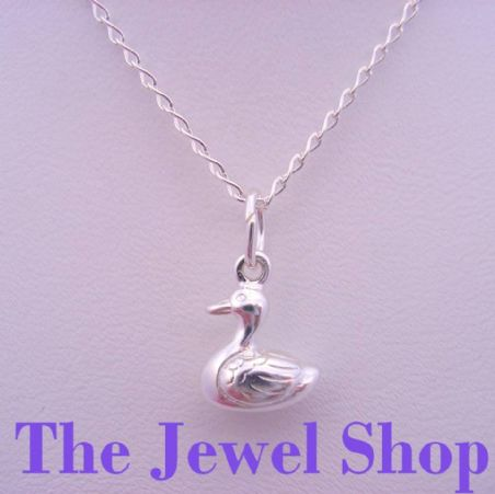 STERLING SILVER DUCK DUCKIE CHARM CURB NECKLACE