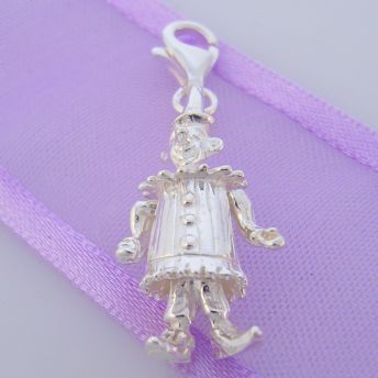 STERLING SILVER JIGGLY MOVING CIRCUS CLOWN CLIP ON CHARM -HR2721
