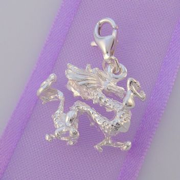 STERLING SILVER 20mm x 18mm DRAGON CLIP ON CHARM - HR304