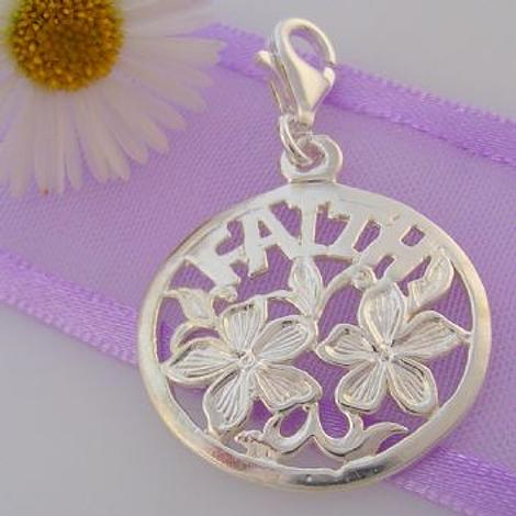 STERLING SILVER 20mm ROUND FAITH CLIP ON CHARM - HRKB17