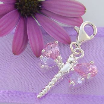 STERLING SILVER PINK LILAC CZ DRAGONFLY CLIP ON CHARM - JC CZ
