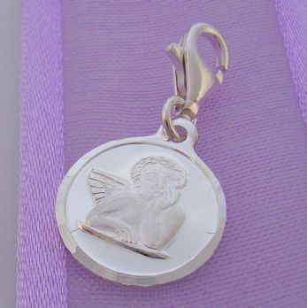 STERLING SILVER 12mm GUARDIAN ANGEL CLIP ON CHARM - JC2377