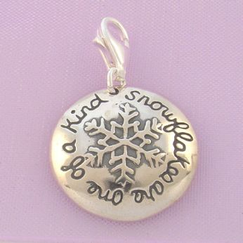 STERLING SILVER 17mm SNOWFLAKES ARE ONE OF A KIND CLIP ON CHARM - TI-01706