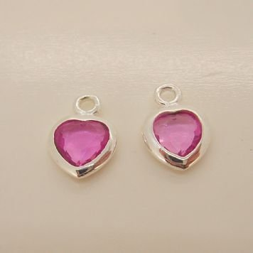 STERLING SILVER 7mm PINK CZ HEART SLEEPER CHARMS -C-SS-7mmCZheart-pink