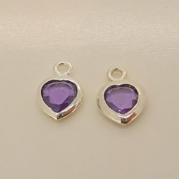 STERLING SILVER 7mm PURPLE CZ HEART SLEEPER CHARMS -C-SS-7mmCZheart-purple