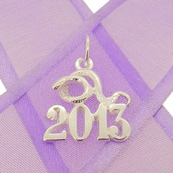 STERLING SILVER YEAR OF THE SNAKE 2013 CHARM PENDANT - KBSN2013-2-jr-SS