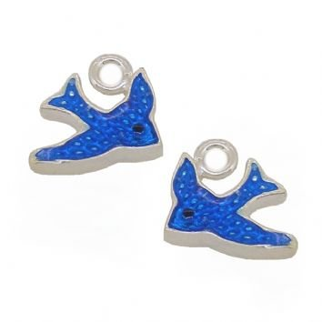 STERLING SILVER TWO 10mm BLUEBIRD of HAPPINESS CHARMS for SLEEPER EARRING