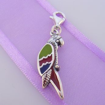 STERLING SILVER COLOURED PARROT BIRD CLIP ON CHARM - TI-01803