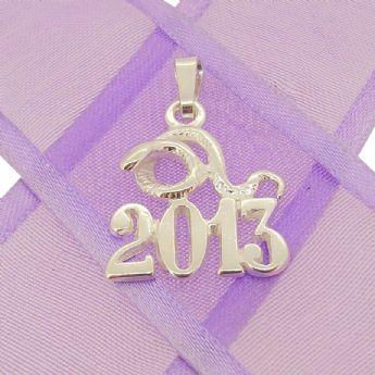 STERLING SILVER YEAR OF THE SNAKE 2013 CHARM PENDANT - KBSN2013-2-Bail-SS