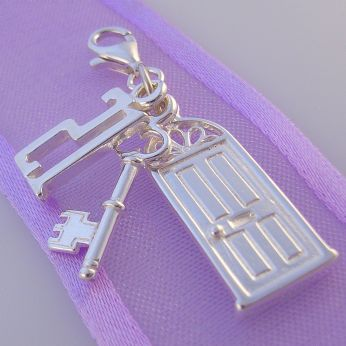 STERLING SILVER 21 21st BIRTHDAY KEY to the DOOR CLIP ON CHARM -HR3003-1042