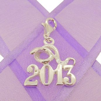 STERLING SILVER YEAR OF THE SNAKE 2013 CLIP ON CHARM PENDANT - KBSN2013-2-PCT-SS