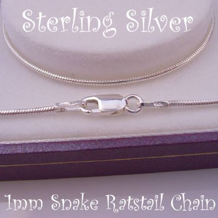 45CM STERLING SILVER SNAKE RATSTAIL NECKLACE CHAIN 4g