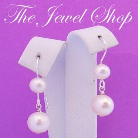 STERLING SILVER 6mm & 8mm NATURAL WHITE FRESHWATER PEARL HOOK EARRINGS