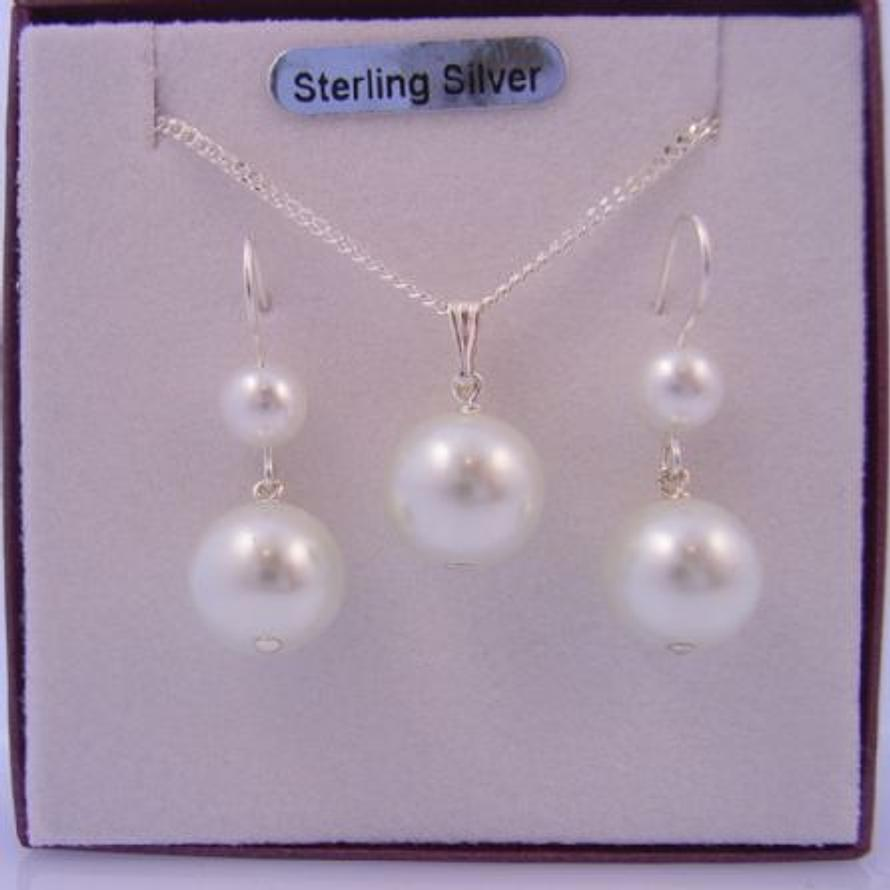 STERLING SILVER 6mm & 10mm WHITE FAUX PEARL DROP HOOK EARRINGS and MATCHING 10mm PEARL DROP NECKLACE