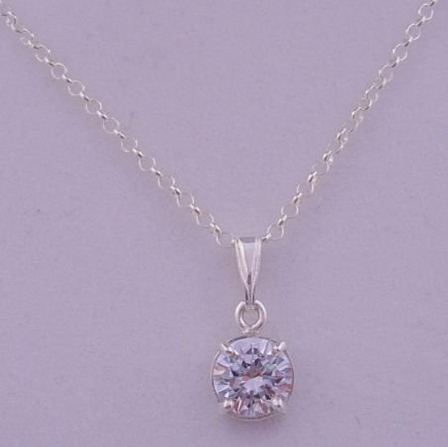 STERLING SILVER 8mm CUBIC ZIRCONIA CZ SOLITAIRE NECKLACE