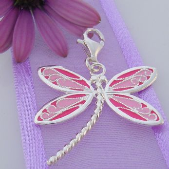STERLING SILVER 24mm PINK DRAGONFLY CLIP ON CHARM - JC P440LP