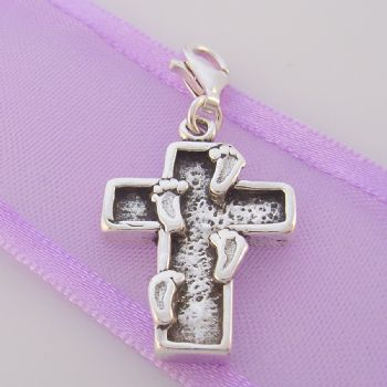 STERLING SILVER FOOT STEPS IN THE SAND PRINTS CROSS CLIP ON CHARM TI-09574