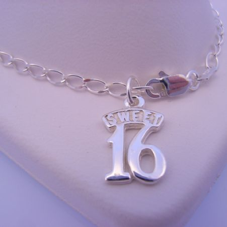 STERLING SILVER SWEET 16 CHARM CURB BRACELET 19cm
