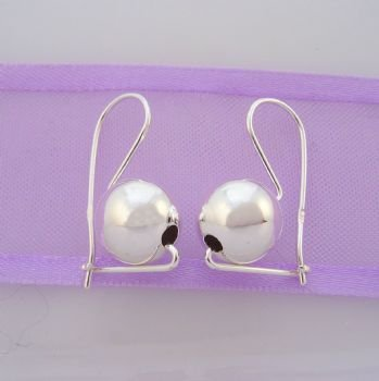 STERLING SILVER 8mm EUROBALL EARRINGS
