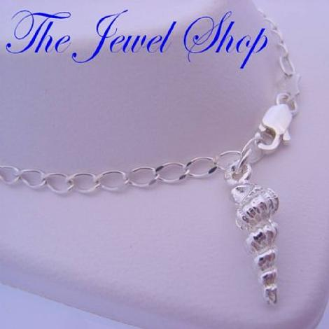 STERLING SILVER SHELL CHARM CURB DESIGN ANKLET 27cm