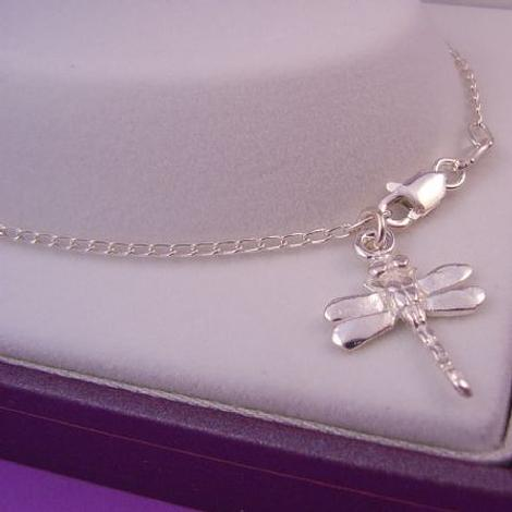 STERLING SILVER 13mm DRAGONFLY CHARM CURB ANKLET 28cm
