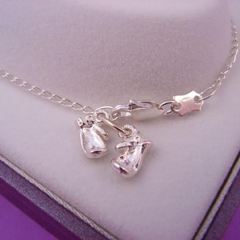 STERLING SILVER BOXING GLOVES CHARM CURB CHAIN ANKLET 28cm