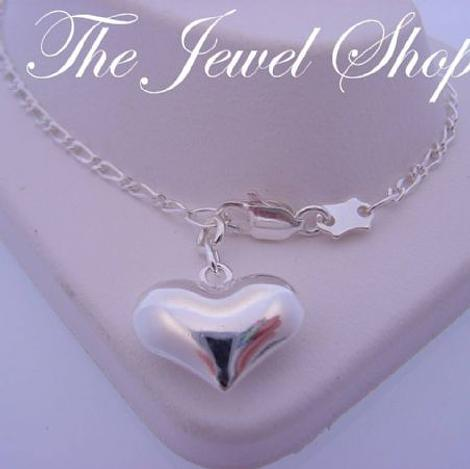 STERLING SILVER 14mm HEART FIGARO CURB CHAIN ANKLET 27cm
