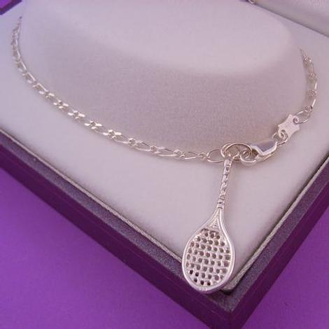 STERLING SILVER TENNIS RACQUET CHARM FIGARO ANKLET 25cm