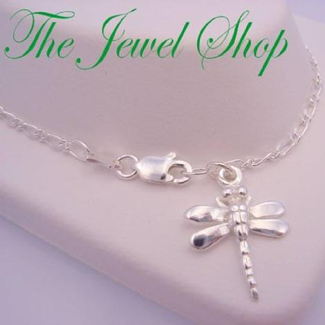 STERLING SILVER DRAGONFLY FIGARO CURB CHAIN ANKLET 27cm