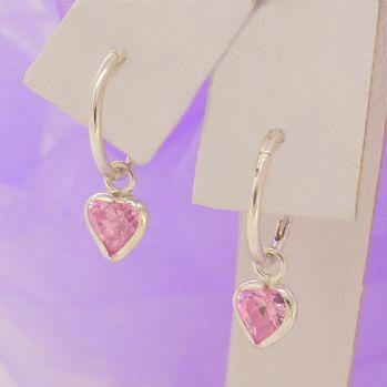 STERLING SILVER 5mm PINK CZ HEART 8mm SLEEPER EARRINGS -E-SS-8mmSLP-5mmCZheart-pink