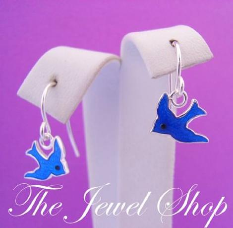 STERLING SILVER BLUEBIRD of HAPPINESS CHARM HOOK EARRINGS