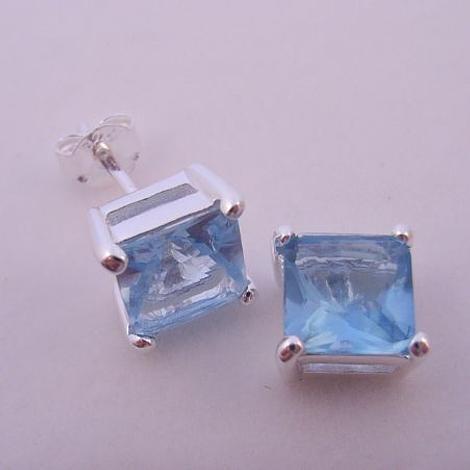 7mm BLUE TOPAZ CZ PRINCESS CUT STERLING SILVER EARRINGS