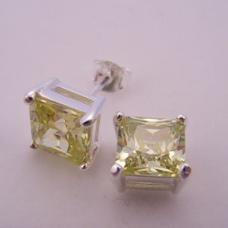 PERIDOT GREEN COLORED CZ PRINCESS CUT STERLING SILVER EARRINGS