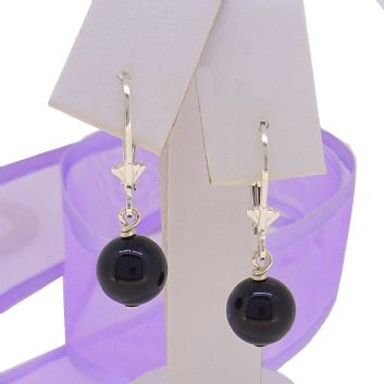 STERLING SILVER 8mm BLACK ONYX BALL SAFETY LEVERBACK HOOK EARRINGS