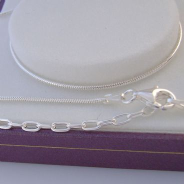 STERLING SILVER 1.2mm SNAKE NECKLACE 40cm 6cm EXTENSION CHAIN SN25