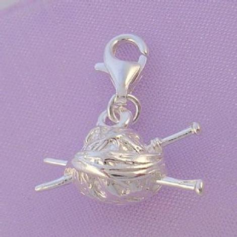 STERLING SILVER KNITTING WOOL KNEEDLES CLIP CHARM - HRKB33