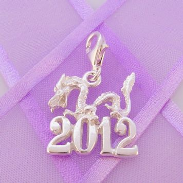 STERLING SILVER CHINESE 2012 YEAR OF THE DRAGON CLIP ON CHARM -HR-SN2012DRAGON
