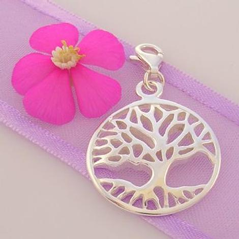 STERLING SILVER 20mm TREE OF LIFE CLIP ON CHARM PENDANT -KB48