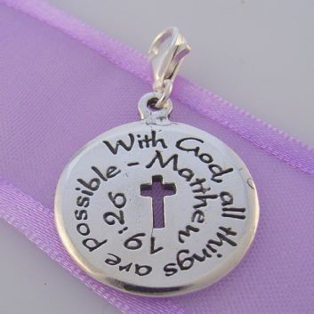 STERLING SILVER 20mm 'With God all things are Possible' CLIP ON CHARM -TI-01605